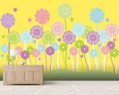 Pastel Flowers Nursery mural wallpaper living room preview