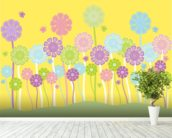 Pastel Flowers Nursery mural wallpaper in-room view