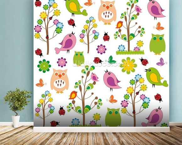 Nursery wall mural room setting
