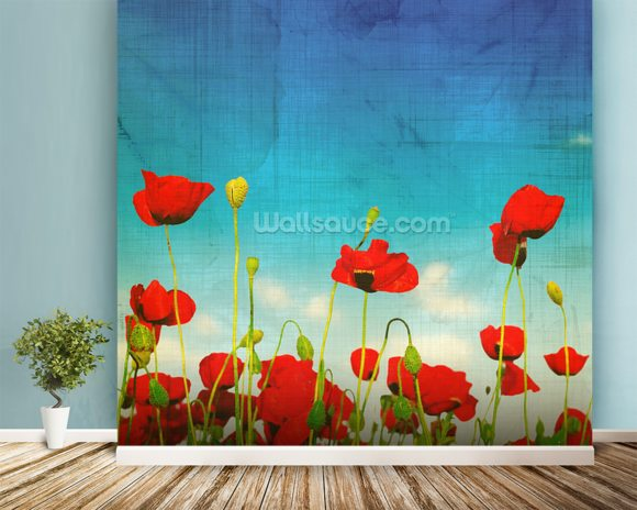 Poppies wall mural room setting