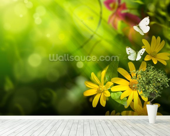 Flowers and Butterfly mural wallpaper room setting