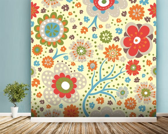 Abstract Floral - Colourful wall mural room setting