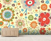 Abstract Floral - Colourful wall mural living room preview