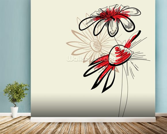 Artistic Abstract Flowers mural wallpaper room setting