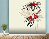 Artistic Abstract Flowers mural wallpaper in-room view