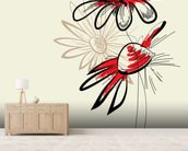 Artistic Abstract Flowers mural wallpaper living room preview