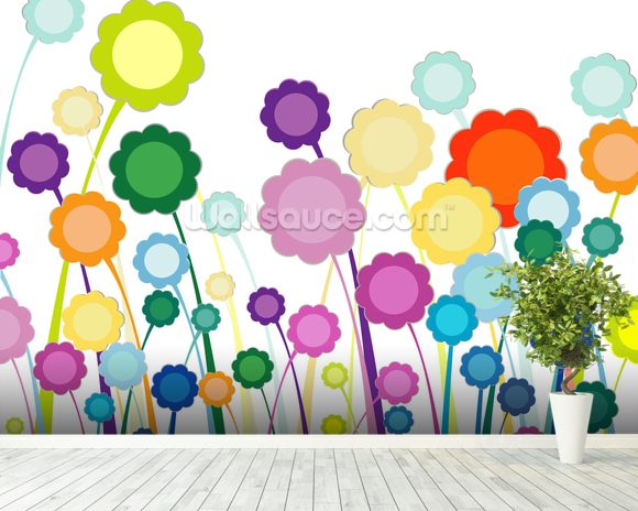 Flowers Painting wall mural room setting