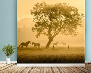 Golden Horses wall mural