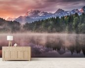 Sunrise at the Lake mural wallpaper living room preview