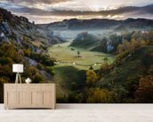 Waiting for the Sunrise - Sureanu Mountains mural wallpaper living room preview
