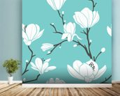 Magnolias on Blue mural wallpaper in-room view