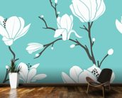 Magnolias on Blue mural wallpaper kitchen preview