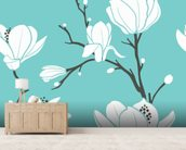 Magnolias on Blue mural wallpaper living room preview