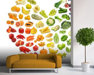 Heart Shape of Fruits and Veg Wall Mural Wallpaper Wallpaper Wall Murals