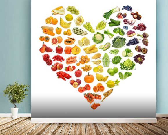 Heart Shape of Fruits and Veg wall mural room setting
