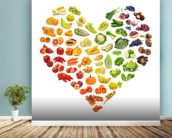 Heart Shape of Fruits and Veg wall mural in-room view