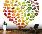 Heart Shape of Fruits and Veg wall mural kitchen preview