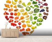 Heart Shape of Fruits and Veg wall mural living room preview