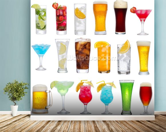 Drinks wall mural room setting
