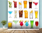 Drinks wall mural in-room view