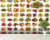 Fruit and Vegetables mural wallpaper in-room view