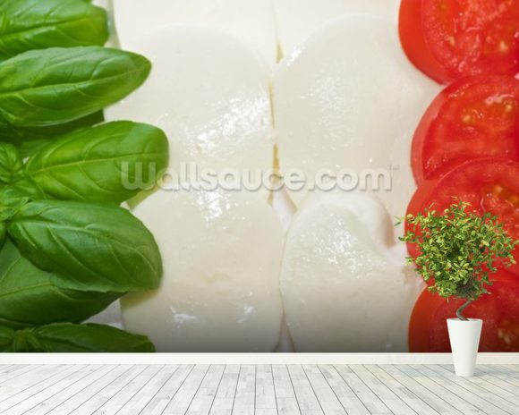 Basil Mozzarella and Tomato wall mural room setting