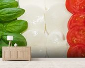 Basil Mozzarella and Tomato wall mural living room preview
