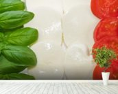 Basil Mozzarella and Tomato wall mural in-room view