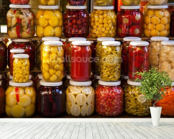 Jars of Pickles mural wallpaper room setting