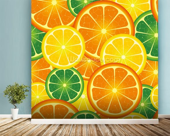 Citrus Fruits wallpaper mural room setting