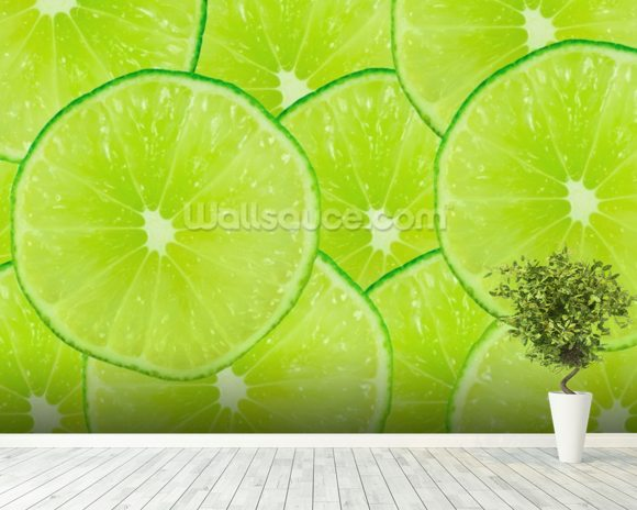 Lime wallpaper mural room setting