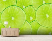 Lime wallpaper mural living room preview
