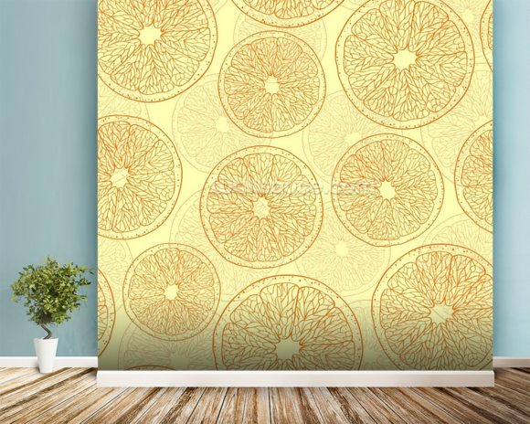 Abstract Oranges wall mural room setting