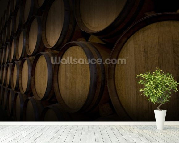 Wine Barrels mural wallpaper room setting