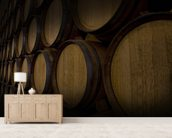 Wine Barrels mural wallpaper living room preview