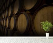 Wine Barrels mural wallpaper in-room view