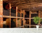 Wine Bottles mural wallpaper in-room view