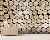 Wine Corks Stacked wall mural living room preview
