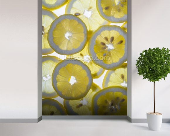 Lemon wall mural room setting