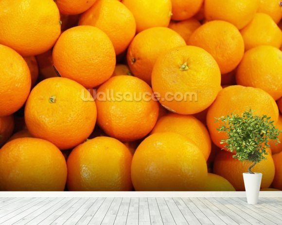 Fresh Oranges wallpaper mural room setting