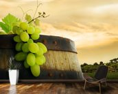 Wine Barrel and Grapes mural wallpaper kitchen preview