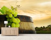 Wine Barrel and Grapes mural wallpaper living room preview