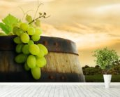 Wine Barrel and Grapes mural wallpaper in-room view