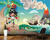 Pirate Island and Volcano wallpaper mural kitchen preview