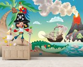 Pirate Island and Volcano wallpaper mural living room preview