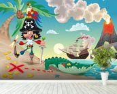 Pirate Island and Volcano wallpaper mural in-room view