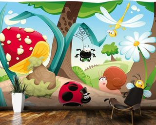 Cute bugs mural wallpaper