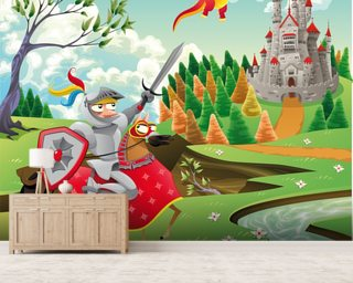 Brave Knight, Castle and Dragon Mural Wallpaper Wall Murals Wallpaper