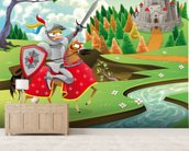 Brave Knight, Castle and Dragon wall mural living room preview