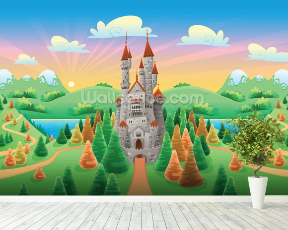 Medieval castle wallpaper wall mural wallsauce for Castle mural wallpaper